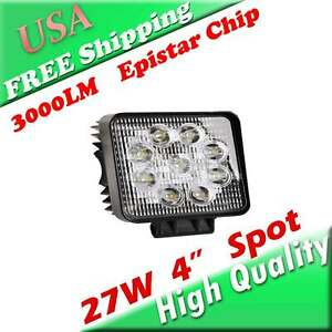 27w High Output Spot Led Lights 4 3 Inch Square Off Road Baja Bar Lighting