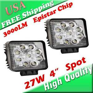 2x 27w High Output Spot Led Lights 4 3 Inch Square Off Road Baja Bar Lighting