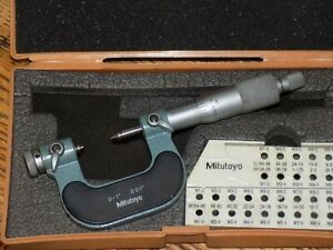 Mitutoyo 0 To 1 Screw Thread Pitch Micrometer 126 137 Mic 1 Set Of M3 Anvils