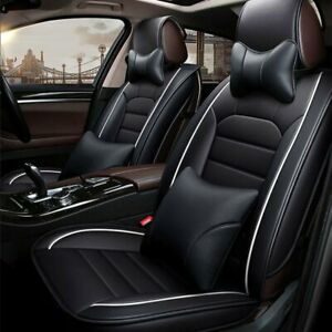 Universal 5d Pu Leather Car Suv Seat Covers Front Rear Deluxe Auto Cushion Black