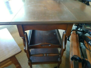 Vintage Wood Serving Table With Storage Tray