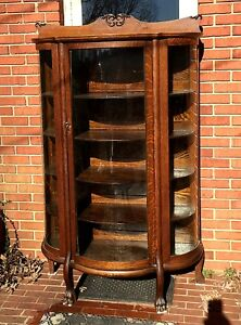 Antique Bow Front Curved Glass Oak China Cabinet Claw Feet Carved Pediment O F
