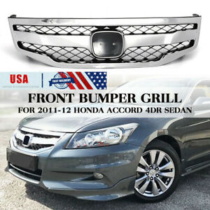 Usa Front Bumper Hood Mesh Sport Grille Grill For Honda Accord 4dr Sedan 11 2012