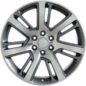 22 Gunmetal Machine Split Spoke Wheels Rims Fits 2000 2020 Cadillac Escalade