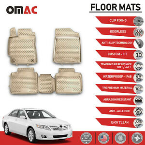Floor Mats Liner 3d Molded Tan Set For Toyota Camry 2007 2011
