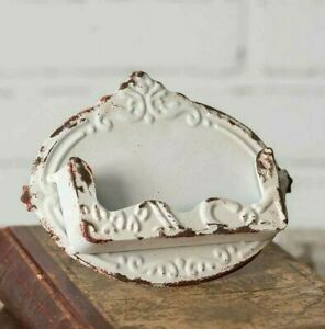 White Distressed Business Card Holder Chippy Chic Shabby Vintage Style Embossed