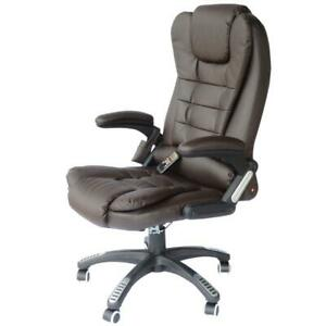 Pu Leather High Back Executive Heated Massage Office Chair Dark Brown G6k1