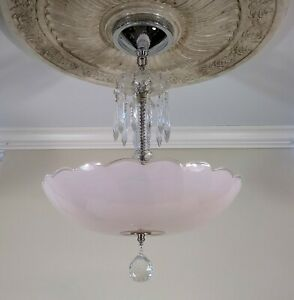 Antique Art Deco Ceiling Light Fixture Chandelier With 14 Pink Shade