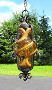 Vintage Mcm Wrought Iron Amber Art Glass Globe Lantern Chandelier Hall Light