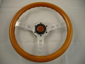 Vintage Momo Italy Super Indy 1990 Wood Steering Wheel W Horn Button Rare A141