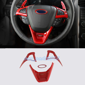 Red Carbon Fiber Steering Wheel Decor Cover Trim For Ford Fusion Mondeo 13 19