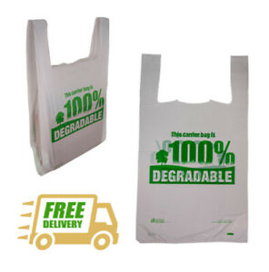 Biodegradable White Carrier Bags Low Prices Plastic Shopping Ht Vest Eco