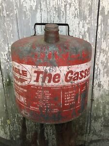 Eagle The Gasser 5 Gallon Round Metal Gas Can Model M 5 Galvanized Steel Vgc Usa