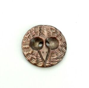 Antique Vintage Victorian Hand Carved Abalone Shell Owl Face Head Sewing Button