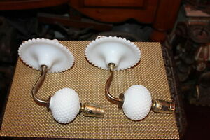 Vintage Pair Hobnail Wall Mounted Light Fixture Wall Sconces