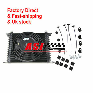 15 Row Engine Trans Transmission 10an Universal Oil Cooler 7 Electric Fan Kit