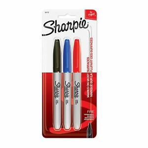 New Sharpie Fine Point Permanent Black Blue And Red Markers