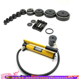 15 Ton Hydraulic Knockout Punch Driver Kit 10 Cutting Dies Hand Pump Hole Tool