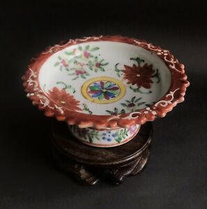 Antique 19 C Chinese Porcelain Flower Bencharong Tezza Dish Thai Qing Dynasty