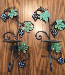 Metal Tole Leaves Grapes Candle Holder Scone Wall Set Of 2 Toleware Art 14