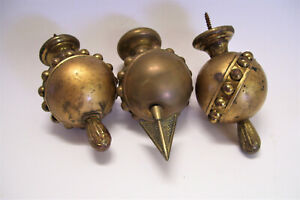 3 Antique Ornate Large Brass Finials Victorian Architectural Hardware