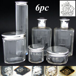 Antique French Sterling Silver Cut Glass 6pc Vanity Set Jars Perfume Bottles