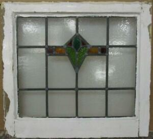 Old English Leaded Stained Glass Window Compact Geometric Design 20 X 18 5