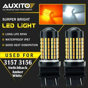 2x Auxito 3157 4157na White Amber Switchback Led Turn Signal Light Bulb 120h Ea