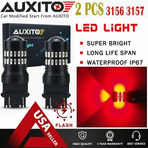 Auxito 3157 3156 Brake Tail Stop Light Red Flash Strobe Blinking Led Bulb 48h Ea