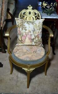 French Victorian 19thc Louis Xvi Style Giltwood Tapestry Parlor Fauteuil Chair