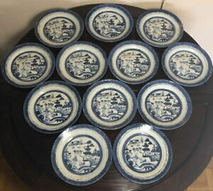 19th C Chinese Export Porcelain Canton Blue White Plates Lot Of 10 60