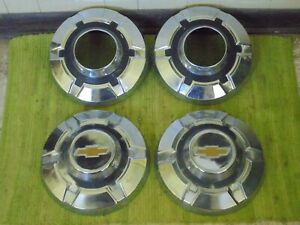 69 75 Chevy 3 4 Ton 4x4 Dog Dish Hubcaps 12 Set Of 4 Pickup Truck 16 16 5 K20