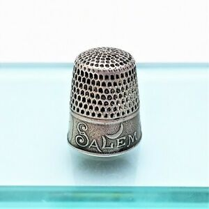 Salem Witch 1692 Commemorative Thimble By Whiting Sterling Silver Rare