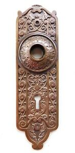 Antique Bronze Doorknob Plate Norwalk Rope 1880s Ornate Victorian Door Hardware