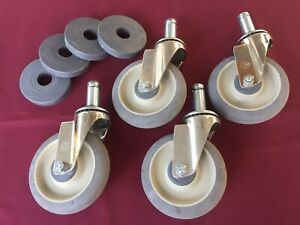Lot Of 4 Metro Rack 5 Polyurethane Casters W rubber Cushion Bumpers Light Use