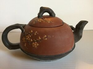 Chinese Yixing Clay Trailing Twig Cherry Blossom Design Dual Color Teapot