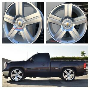 26 Inch Texas Silver Ltz Chevy Wheels Tires Rims Gmc Sierra Chevy Silverado