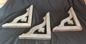Antique Chippy White Painted Wooden Corbels Farmhouse 3 Pc