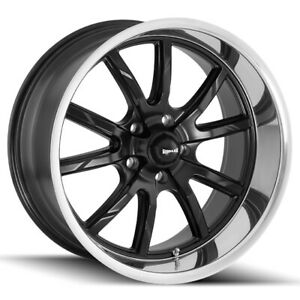 Staggered Ridler 650 Front 15x7 Rear 15x8 5x127 5x5 0mm Black Wheels Rims