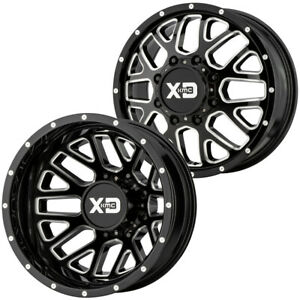 Set Of 6 20 Inch Xd Series Xd843 Dually 8x6 5 Black Milled Wheels Rims