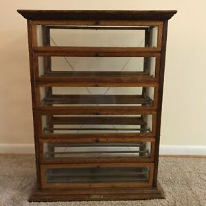 Antique A N Russell Sons Oak Ribbon Display Cabinet
