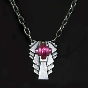 Classic Vtg 1920s Art Deco Stepped Rose Beveled Glass Silver Necklace