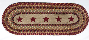 Primitive Country Barn Red Stars Oval Braided Table Runner 13 X 36 Reversible