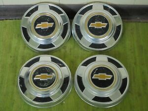 73 87 Chevy Dog Dish 10 1 2 Hubcaps Set Of 4 C10 Pickup Truck Van 1 2 Ton 15