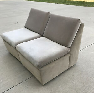 Pair Of Slipper Chairs Or Loveseat Designed By Milo Baughman For Thayer Coggin