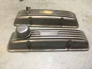 Vintage Sbc Aluminum Valve Covers Finned With Breather