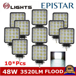 10pcs Square Led Lights 48w Work Lights 4inch Spot Lamp Driving Fog Truck Boat