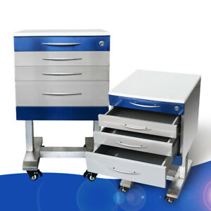 Hospital Dental Clinic Mobile Storage Cabinet 3 Drawers 2 Trays Stainless Steel