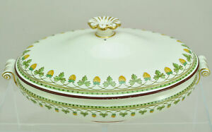 Antique Wedgwood Strawberry Fruit Covered Oval Server Scroll Handles