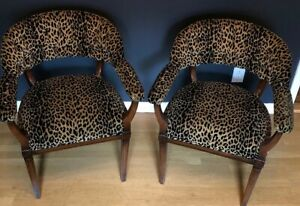 Pair Vintage Hollywood Regency Armchairs Mahogany Leopard Velvet Fabric Tufted